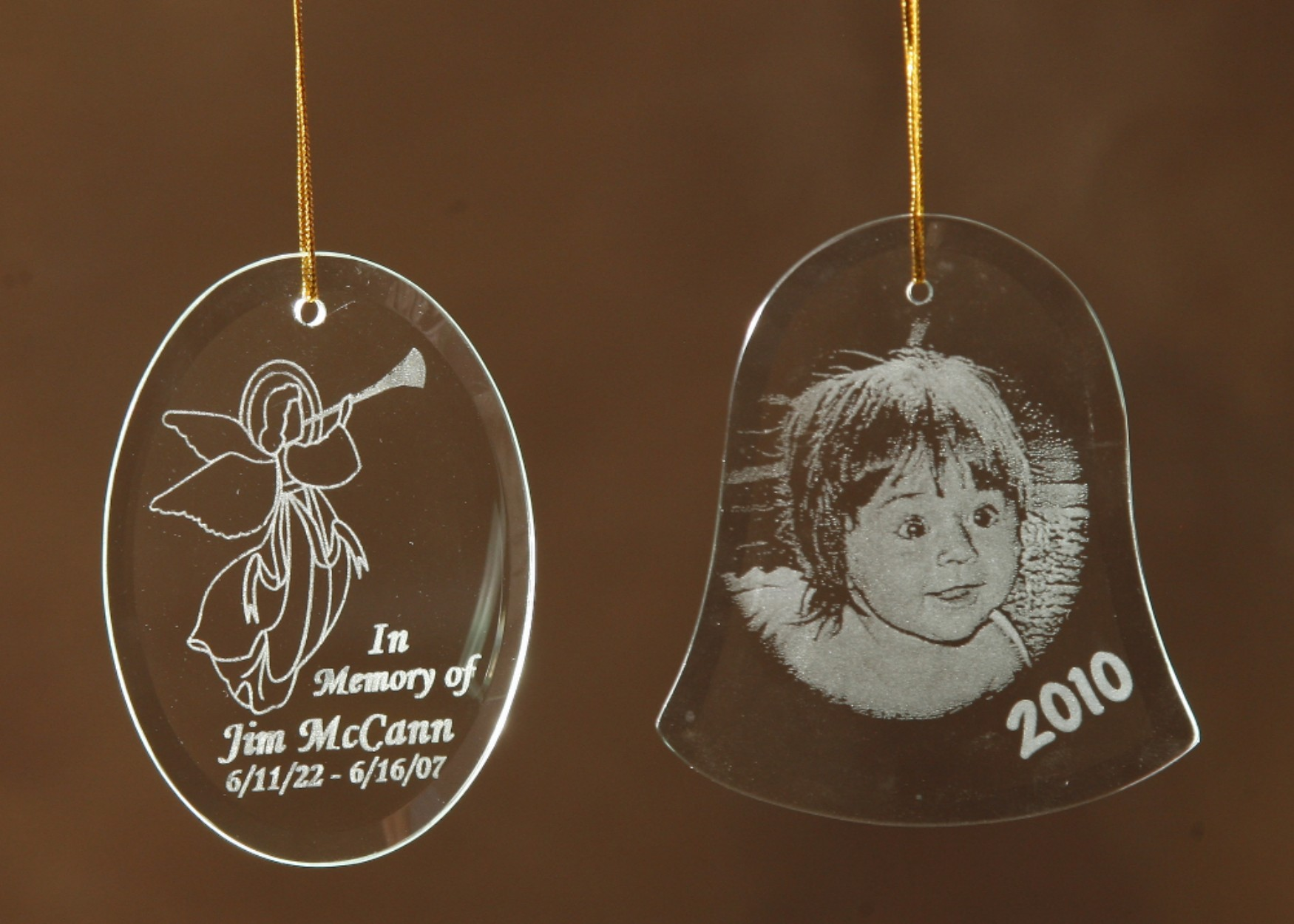 Engraved glass ornaments - Our Beveled Glass Ornaments Can Be Personalized With Any